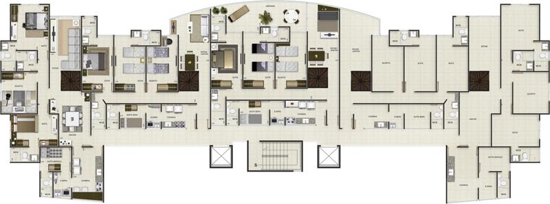 Pavimento cobertura inferior - Edifício San Marino - Construtora Alconil